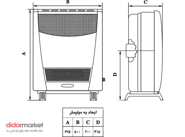 بخاری گازسوز هوشمند نیک کالا مدل AB7